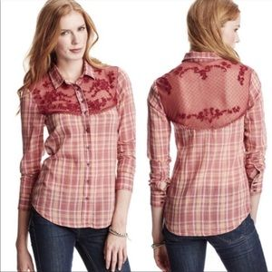 FREE PEOPLE Saddle Up Red Plaid Button Down Shirt